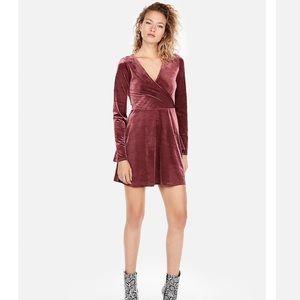EXPRESS Velvet Surplice Dress
